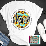 Mama Sunflower Words Circle Sublimation Transfer or White Tee