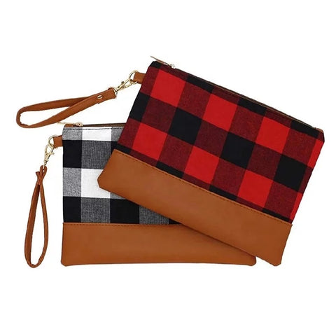 Plaid Clutch with Monogram