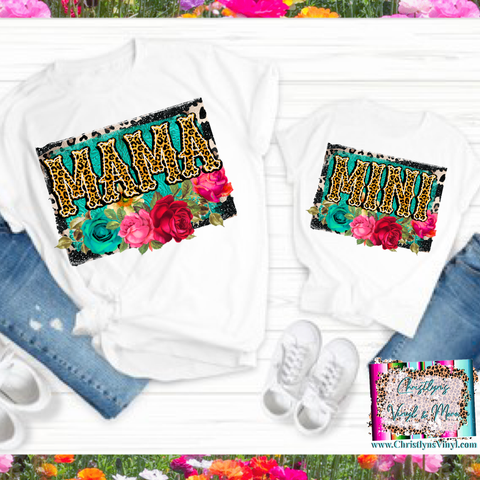 Mama Mini Floral Leopard Matching Tees or Sublimation Transfer