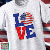 Love America Sunflower USA Sublimation Transfer or Ash Grey Tee