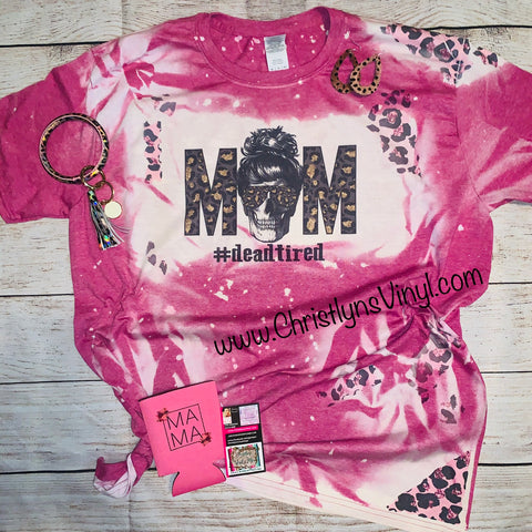 Mom Cheetah Bleached Pink Tee