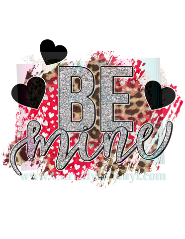 Be Mine Red Cheetah Hearts Valentine Sublimation Transfer