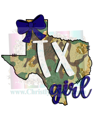 Camo States Girl Bow Custom Sublimation Transfer