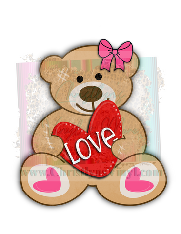 Love Teddy Bear Valentines Sublimation Transfer
