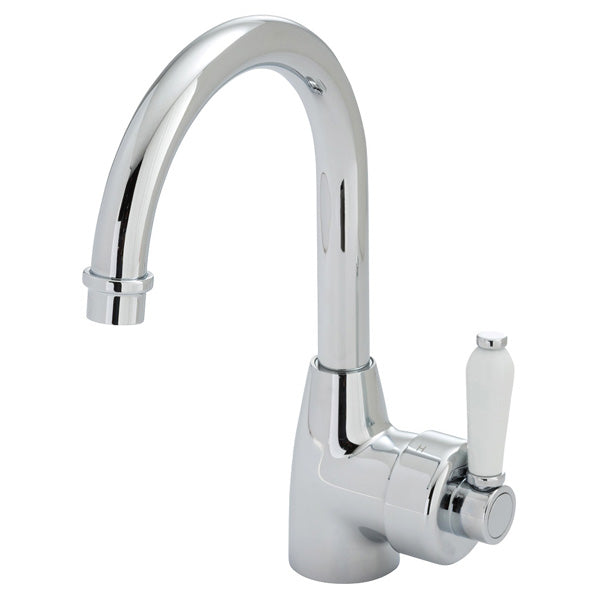 ELEANOR Gooseneck Basin Mixer Chrome / White