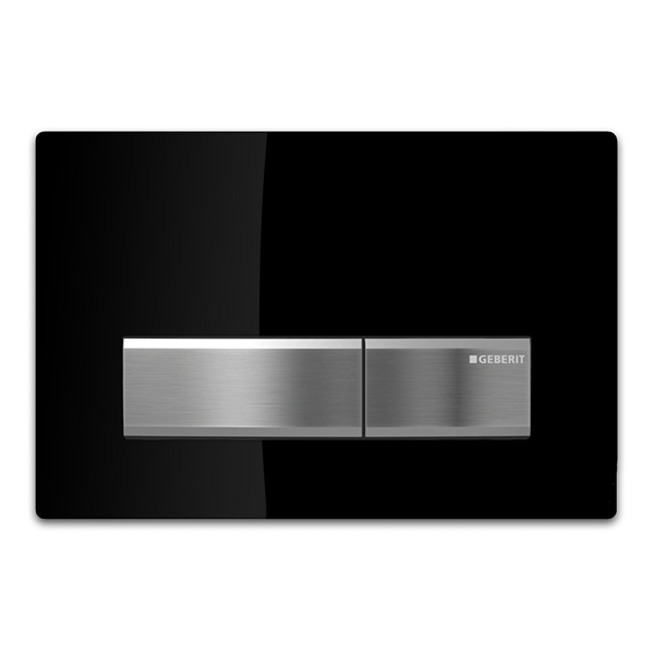 GEBERIT Sigma 50 Black & Chrome Square Button Flush Plate