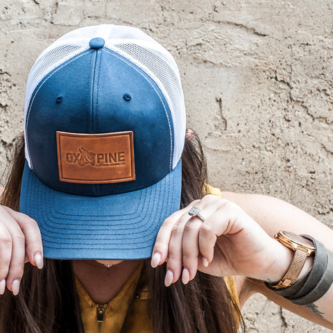 Leather Patch Trucker Hat with Ox & Pine Leather Goods Logo