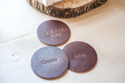 Wedding Personalized Leather Coasters - Bride and Groom - Ox & Pine Wedding Ideas