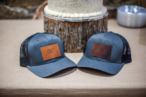 Personalized Bride and Groom Leather Patch Trucker Hats - Ox & Pine Wedding Ideas