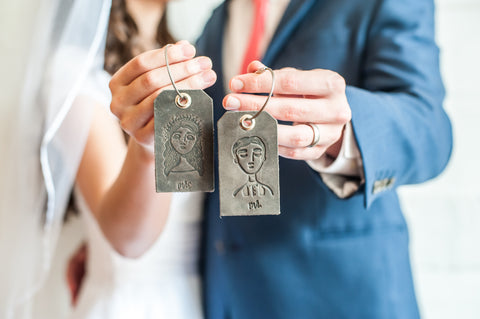 Wedding Leather Luggage Tag Mr and Mrs Stamped Artwork - Ox & Pine Wedding Ideas