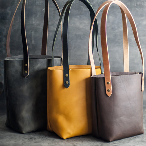 Leather Tote Bags - Small, Medium, and Large - No Closure - Ox & Pine Leather Goods