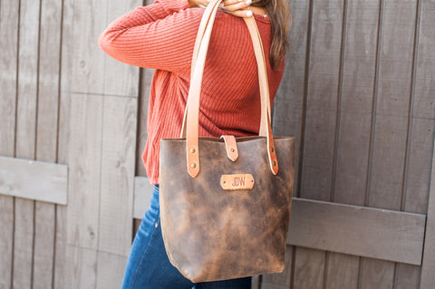Personalized Leather Tote Bag - Ox & Pine Leather Goods