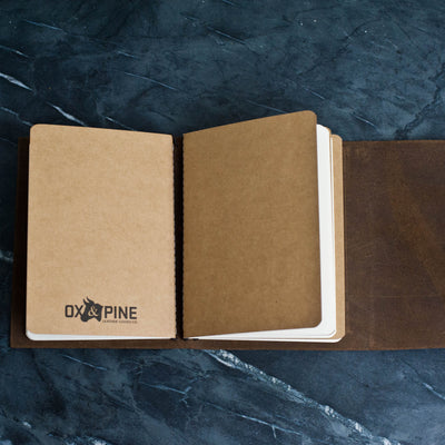 Personalized Refillable Wrap Leather Journal - Inside view of notebooks - Ox & Pine