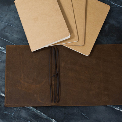 Personalized Refillable Wrap Leather Journal - Inside with notebooks taken out- Ox & Pine