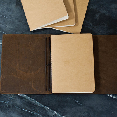 Personalized Refillable Wrap Leather Journal - Inside with 1 of 4 notebooks in - Ox & Pine