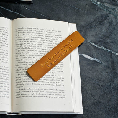 Personalized Premium Leather Bookmark - Saddle Tan - Ox & Pine