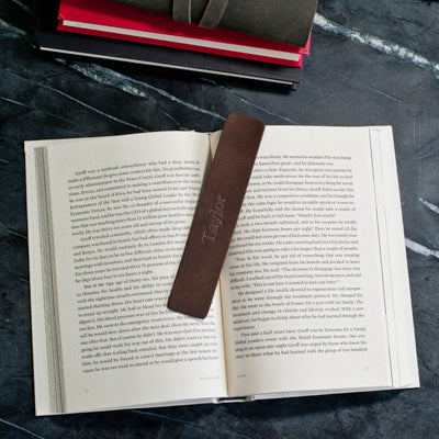 Personalized Premium Leather Bookmark - Dark Brown - Ox & Pine