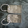 Set of Personalized Mr and Mrs Leather Luggage Tags - Rustic Gray - First and Last Names Added - Wedding Gift, Couple Gift, Anniversary Gift - Ox & Pine