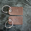 Set of Personalized Mr and Mrs Leather Luggage Tags - Dark Brown - Wedding Gift, Couple Gift, Anniversary Gift - Ox & Pine