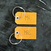 Set of Personalized Mr and Mrs Leather Luggage Tags - Saddle Tan - Wedding Gift, Couple Gift, Anniversary Gift - Ox & Pine