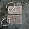 Set of Personalized Mr and Mrs Leather Luggage Tags - Rustic Gray - Wedding Gift, Couple Gift, Anniversary Gift - Ox & Pine