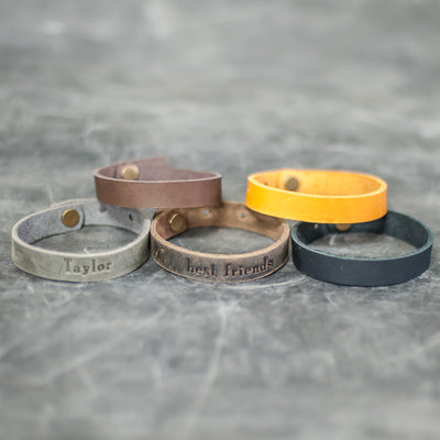 Personalized Leather Single Wrap Bracelet - Color Options - Ox & Pine