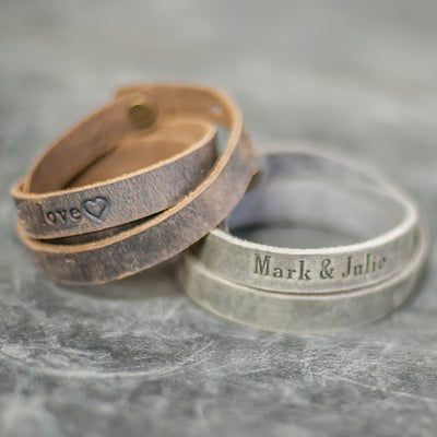 Personalized Leather Triple Wrap Bracelet - Rustic Brown and Rustic Gray- Ox & Pine