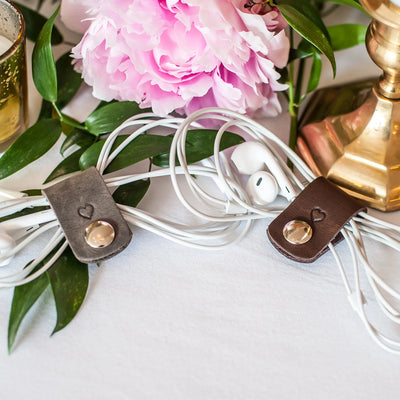 Weddings - Leather Cord Wrap For Headphones Wedding Favors