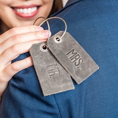 Wedding Set of Mr and Mrs Luggage Tags - Rustic Gray - Optional Personalization - Ox & Pine Leather Goods