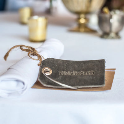 Weddings - Personalized Leather Luggage Tag Place Cards/Favors