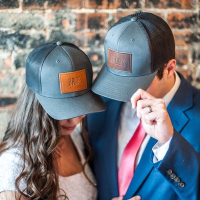 Weddings - Bride and Groom Leather Patch Trucker Style Hats