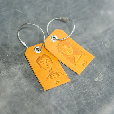 Set of Mr. and Mrs. Design Stamped Leather Luggage Tags