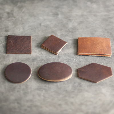 Blank Leather Patches - Ox & Pine Leather Goods - Dark or Light Brown Leather - 6 shapes
