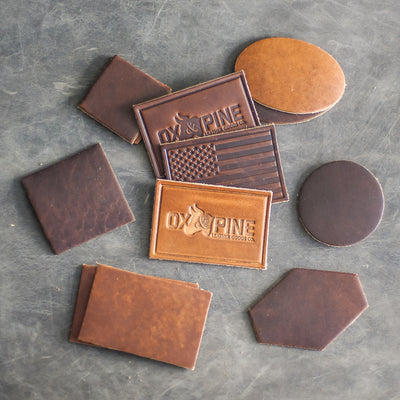 Custom Leather Patches - Blank Patches or Personalized with Logo - Dark Brown Leather and Light Brown Leather