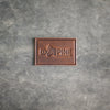 Rectangle Dark Brown Leather Patch - Ox & Pine Leather Goods Logo - Customize with your logo