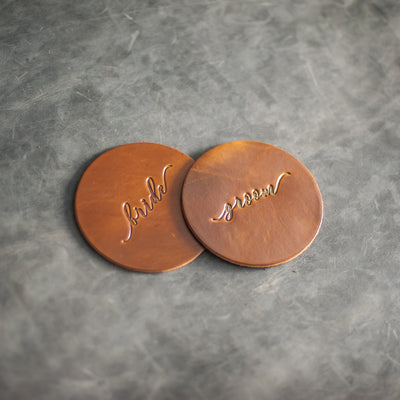 Bride and Groom Wedding Leather Coasters - Harvest Leather Color from Ox & Pine Leather Goods