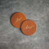 His and Hers Leather Coasters - Set of 4 - Limited Edition Colors
