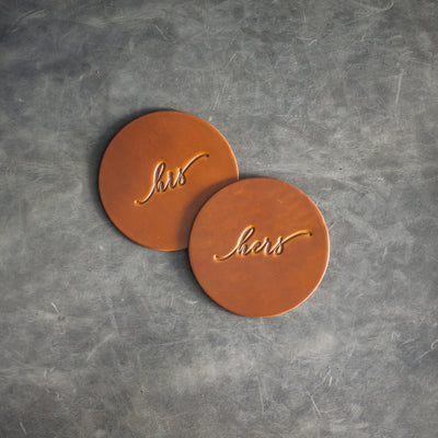 His and Hers Leather Coasters - Limited Edition Colors - Set of 4