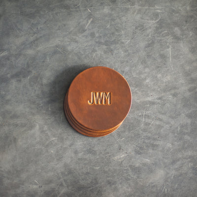 Personalized Leather Coasters - Limited Edition Colors - Set of 4