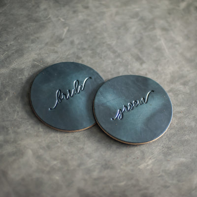 Bride and Groom Wedding Leather Coasters - Deep Ocean Leather Color from Ox & Pine Leather Goods