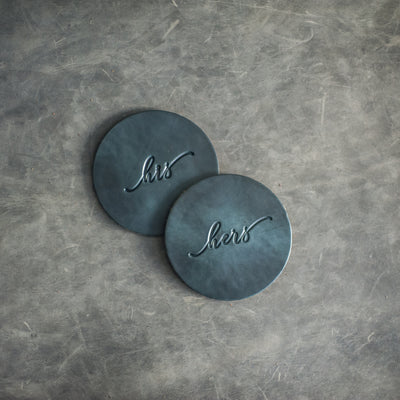His and Hers Wedding Leather Coasters in Deep Ocean Leather Color from Ox & Pine Leather Goods