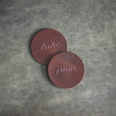 Bride and Groom Wedding Leather Coasters from Ox & Pine Leather Goods