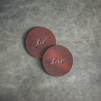 His and Hers Cursive Font Wedding Leather Coasters in Sienna Leather Color from Ox & Pine Leather Goods