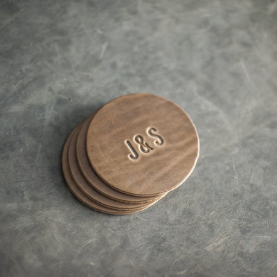 Personalized Leather Coasters - Set of 4