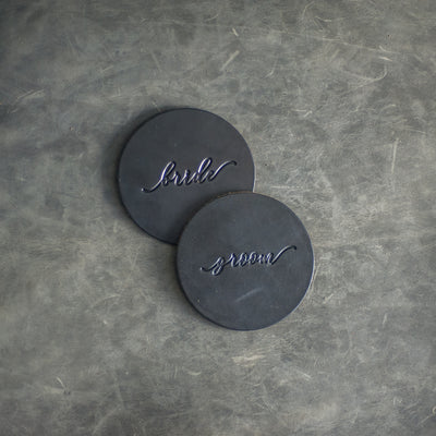 His and Hers Leather Coasters - Set of 4