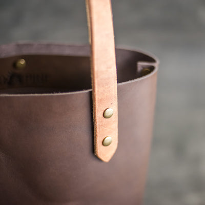 Personalized Leather Zipper Tote Bag