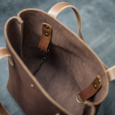 Perfectly Imperfect Personalized Leather Strap Closure Tote Bag