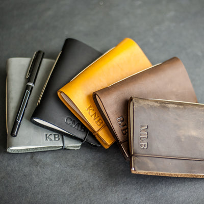 Classic Personalized Leather Pocket Journal with Professional Elastic Closure