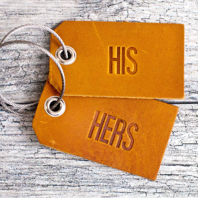 Set of His and Hers Leather Luggage Tags
