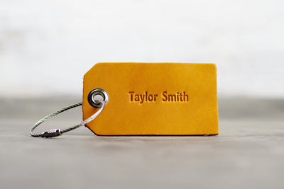Personalized Leather Luggage Tag - Ox & Pine - First and Last Name - Saddle Tan